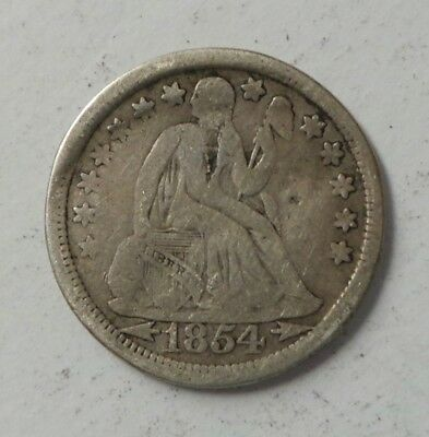 1854 10C Arrows Liberty Seated Silver Dime Coin