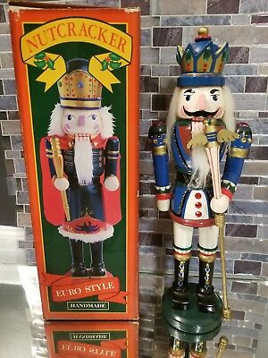 "Vintage Nutcracker Handmade & Hand Painted Euro Style  15"" Tall Royal Guard"