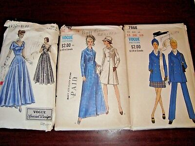 3  VINTAGE 1950's VOGUE SPECIAL DESIGN S-4930 Evening Plus 2 other Vogues