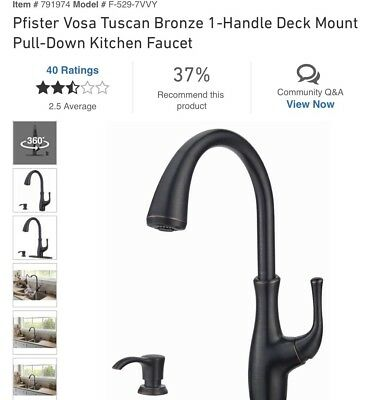 Pfister 529 7why Wheaton One Handle Pull Down Kitchen Faucet Tuscan