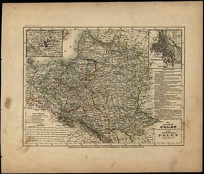 Poland Polen Lithuania Vilnius c.1850 Meyer detailed map Warsaw city plan inset