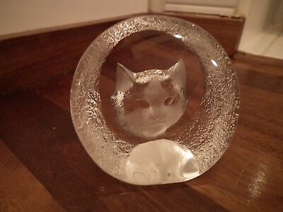 Mats Jonasson Paperweight Made In Sweden Lead Crystal Cat - 9196