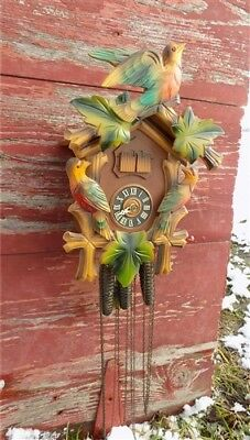 Cuckoo Clock Carved Wood Weights Movement Mechanism Made Germany Vintage