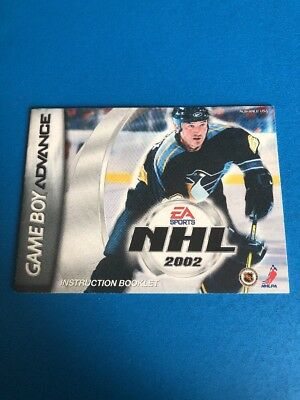 NHL 2002 Nintendo Game Boy Advance GBA MANUAL ONLY! Instruction Booklet!
