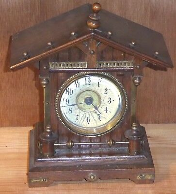 Lovely little Junghans German mantel clock, alarm, early 20th C, spares/repair