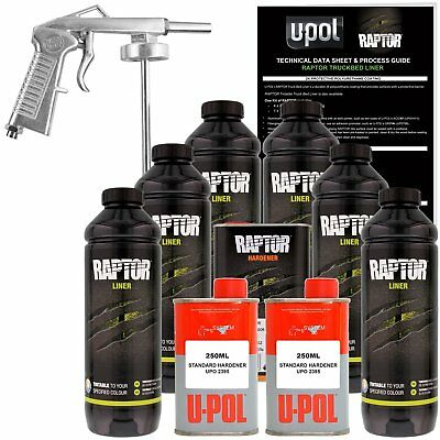 U-POL Raptor Tintable Urethane Spray-On Truck Bed Liner Kit w/ FREE Spray Gun 6L