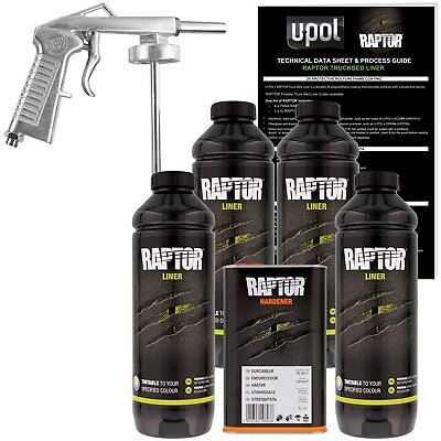 U-POL Raptor Tintable Urethane Spray-On Truck Bed Liner Kit w/ FREE Spray Gun 4L