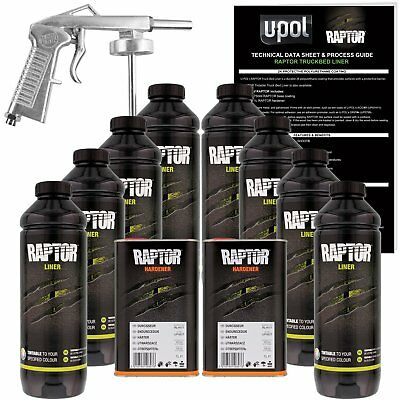 U-POL Raptor Tintable Urethane Spray-On Truck Bed Liner Kit w/ FREE Spray Gun 8L