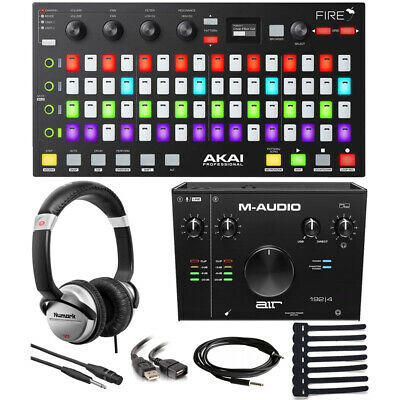 Akai Fire FL Studio Controller + Audio Interface + Headphones + Cables & More
