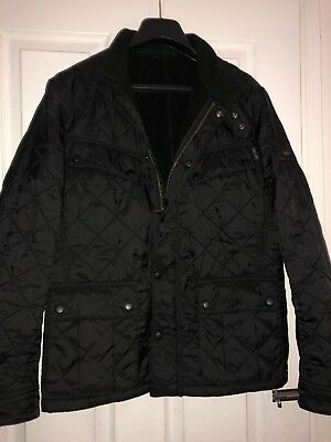 Mens Black Barbour Quilted International Size Small
