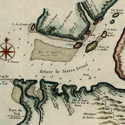 West Africa Sierra Leone coast c.1750 Bellin 18th century hand color old map