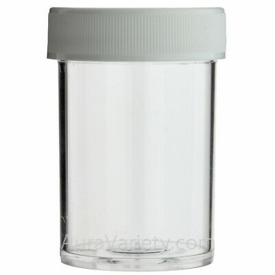 1 Oz Clear Round Wide-Mouth Plastic Jar With White Screw Cap 12 24 72 144 288
