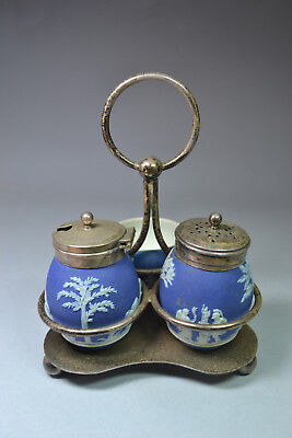 Rare Late 19th C. Antique Wedgwood Condiment Set with Stand Salt & Pepper w/Bowl