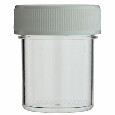 1/2 Oz Clear Round Wide-Mouth Plastic Jar With White Screw Cap 12 24 72 144 288