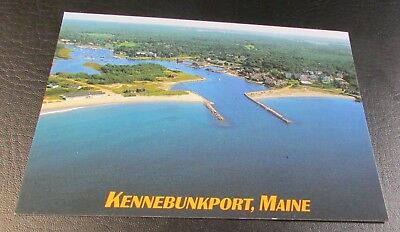 Postcard<KENNEBUNKPORT, MAINE>{ AERIAL VIEW--TOWN & MOUTH OF KENNEBUNK RIVER}