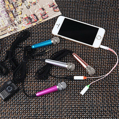 Mini 3.5mm Wired Cell Phone Portable Microphone Stereo Mic for Chatting Sing TS