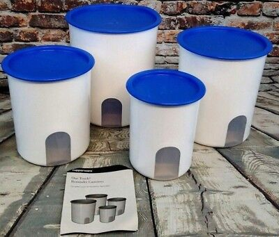 Tupperware Large Window Canister Set of 4 Blue One-Touch Lid Reminder Seal Nest