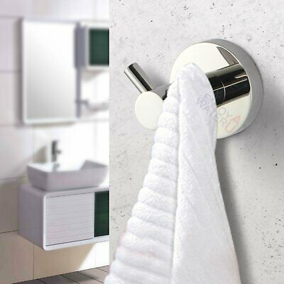 Chrome Double Wall Mount Round Towel Cloth Robe Hook Hanger Holder SUS Bathroom