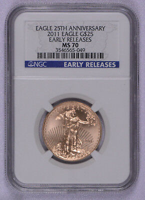 2011 US  American Gold Eagle $25.00 $25 1/2 oz NGC MS70 GEM UNC Early Releases