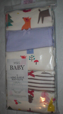 M&S Tiny Baby 6lb 6oz pack of 5 Long sleeve Bodysuits Cream/Lilac Woodland