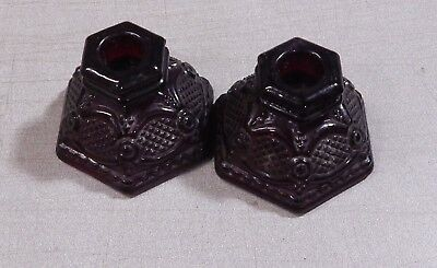 2 Vintage Avon Cape Cod Ruby Red Glass Single Light Candlesticks
