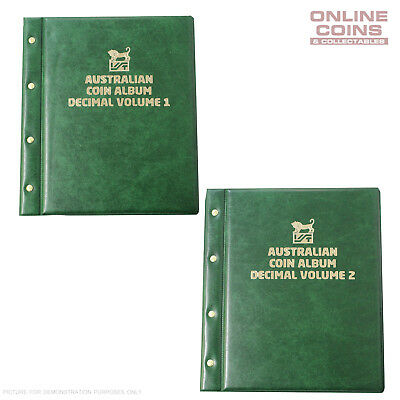 VST Decimal Coin Album Padded Cover Printed Interleaves - VOLUME 1 and 2 GREEN