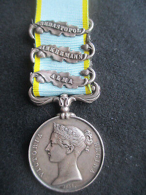 """Crimea Medal 3 clasps. """"CASUALTY"""" Killed 19/3/55. 7th Regt of Foot (R/Fusiliers)"""