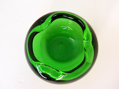 Round Murano Art Glass Ashtray Deco Modern Hand Blown Emerald Green Cigar 4 Slot