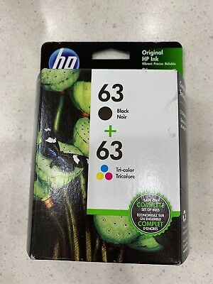 HP #63 Combo Ink Cartridges 63 Black & Color NEW GENUINE EXP 02,03/2020