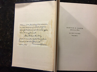 2 signed items by Newton D Baker signed Book & signed letter dated Dec 31, 1931