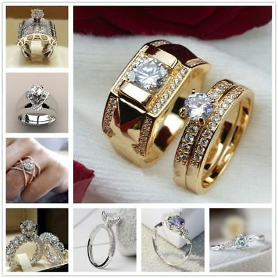 Fashion Women Clear Diamond Men Size 7 To 14 Size 5 To 12 Engagement Ring Set