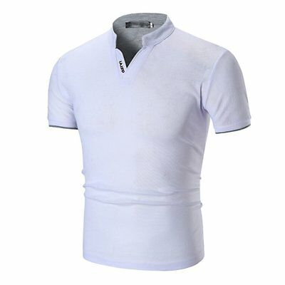 Mens Casual Summer Pure Color Stand Collar V Neck Polo Shirt Short T-Shirt MS