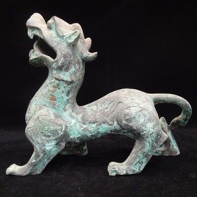 """Rare Old Antique Chinese """"Han"""" Dynasty Bronze Archaic Ritual Kylin Beast Statue"""