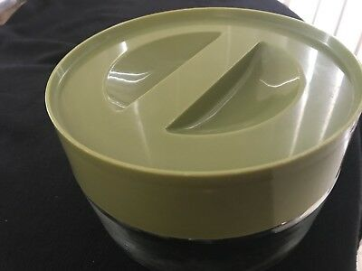 Vintage PYREX Avocado Glass Storage Canisters See N Store Jar Excellent Cond 1