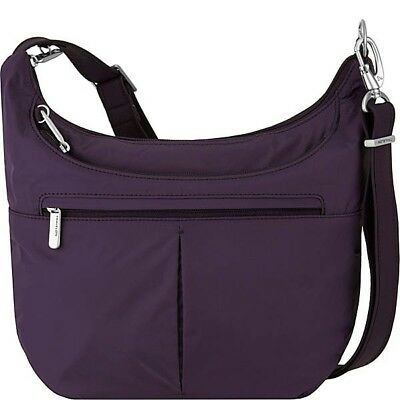 Travelon Anti-Theft, Slouch Hobo Bag, Classic Light Travel Shoulder (Purple) NEW