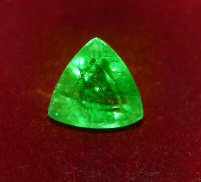 GGL Certified 10.80 Cts Beautiful Natural Green Emerald, Trillion Shape Gemstone