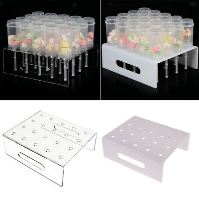 20 Holes Clear/White Acrylic Dessert Cake Pusher Pop Stand for Wedding Birthday
