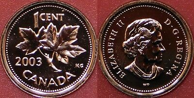 Proof Like 2003WP Canada Uncrowned 1 Cent From Mint's Set