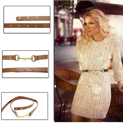 Ladies Women Stylish Tan Waist Belt Fashion Thin Gold Metal Buckle 13mm Wide