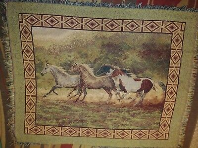 Discontinued home interior Running horses tapestry with fringe 44x53