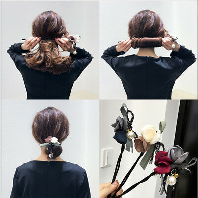Women's Flower Pom Bun Ball Wire Stick Ponytail Holder Hair Band Tie Accessories