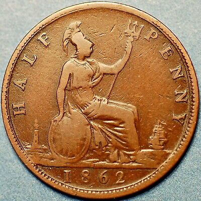 1862 United Kingdom. Half Penny  Victoria Queen .
