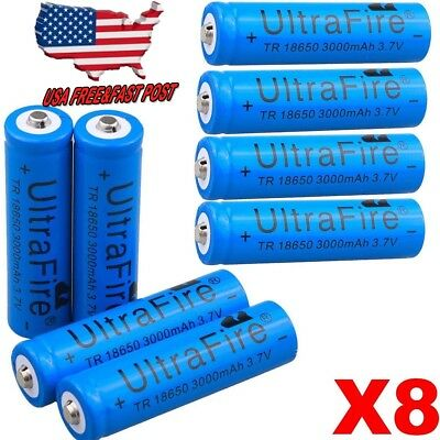 US 4/8pcs 3000mAh 18650 Battery 3.7v Li-ion Rechargeable Batteries For Torch