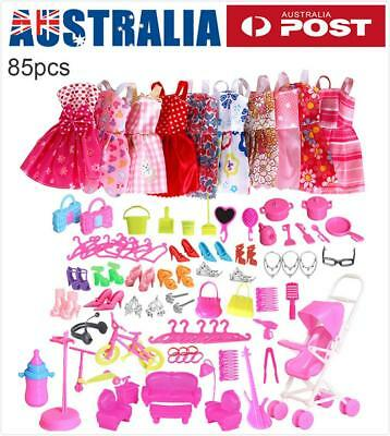 2x 85 Items For Barbie Doll Dresses, Shoes,jewellery Clothes Set Accessories AU