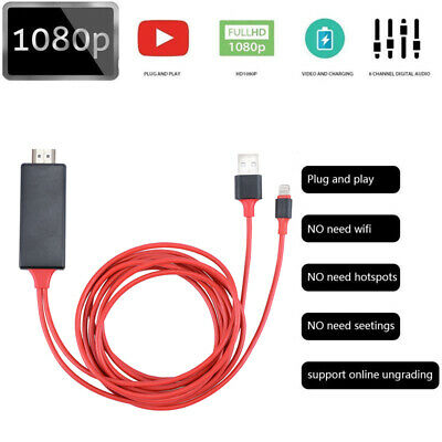 1080P 8 Pin Lightning to HDMI TV AV Adapter Cable for iPhone XS 6s 8 X Plus iPad