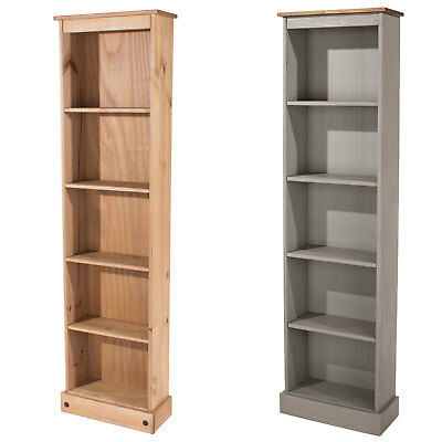 Corona Solid Pine Large Narrow Tall 5 Shelf Bookcase In Antique Wax or Grey Wash