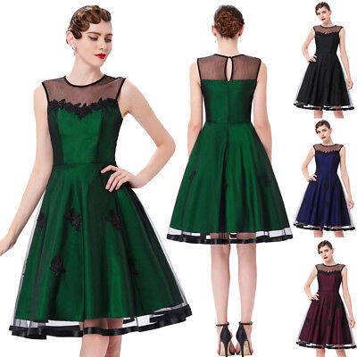 Women Summer Vintage 50s 60s Dress Pinup Housewife Evening Party Casual Dresses