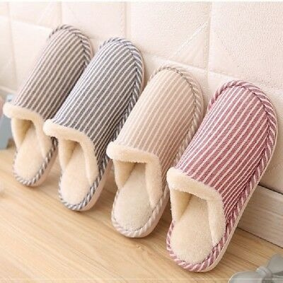 Unisex Floor Slippers Soft Plush Lining Indoor Home Shoes Fashion Striped New