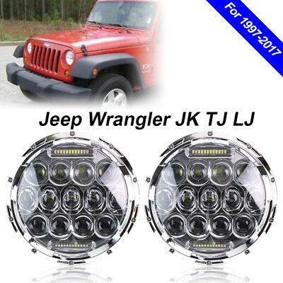 "2pc 7"" inch Round LED Headlights Fits 1997-2017 Jeep Wrangler JK 2 Door"