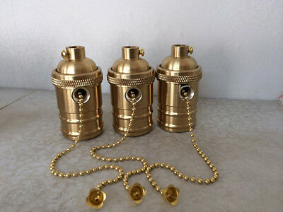 Solid Brass Light Socket, Pull Chain On/Off, Vintage Industrial Lamps Pendants